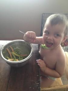 Homemade guacamole w/a spoon=Happy baby!