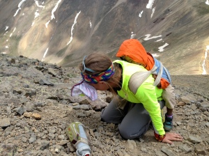 Anxiety attack at 13,500 feet. Clearly Tenny wasn't bothered by my breakdown! Nice shot by Seth!