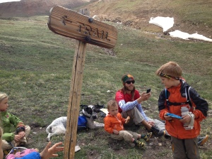 Our hard worker taking a rest after summiting her first 14er.