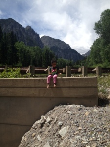 "Kickin it Tenny style! ""Mommy why can't I jump into the creek from here?!"""