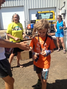 He loves his medal.,