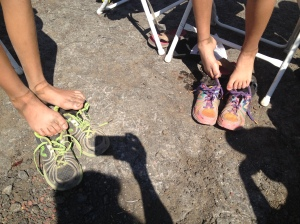 Dirty feet. New Balance is all they wear, both finished the 50k in 890's.