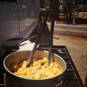 Mac and Cheese cooked van side!