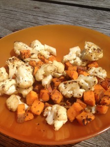 Cauliflower, sweet potatoes and garlic salt!
