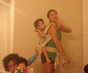 Didymos wrap. A huge favorite! With a photo bomb.