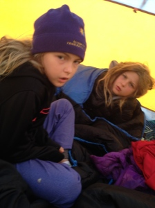 Waking up in the cold on day 2. No one was happy to leave the tent!